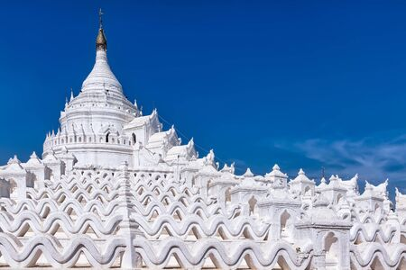 Hsinbyume Pagoda in Mingun, Myanmar. The pagodas design is based on descriptions of the mythical Sulamani pagoda on Mount Meru, the Buddhist sacred mountain 스톡 콘텐츠