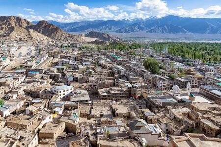 Aerial view of old city of Leh in Ladakh, India. Lah is the historical capital of the Himalayan kingdom of Ladakh, and is located at 3,500 m altitude in the middle of the Himalayan mountain range