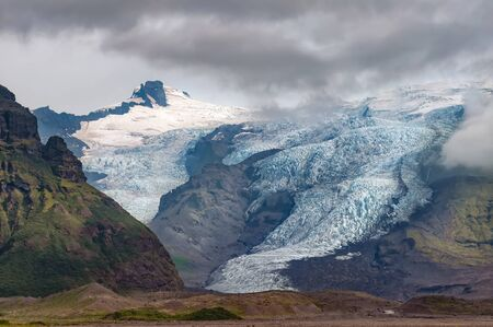 View of Virkisjokull and Falljokull glaciers as seen from route 1, Iceland.