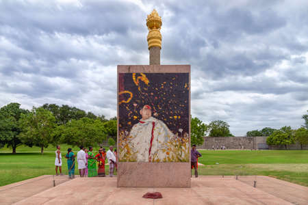 Sriperumbudur, India - August 19, 2018: The stone mural at the spot of Rajiv Gandhi death at Rajiv Gandhi Memorial. Rajiv Gandhi was an Indian politician who served as the 6th Prime Minister of India