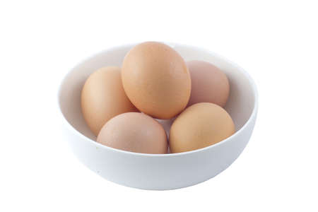 raw brown egg isolated over white background  photo