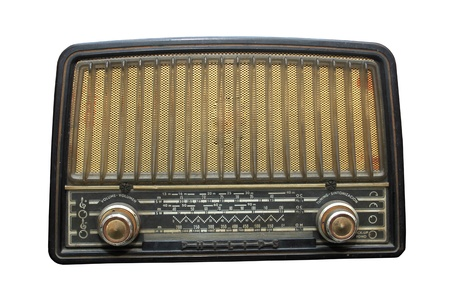 radio station: vintage radio isolated on the white background