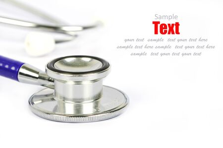 Doctors stethoscope on a white background with space for text