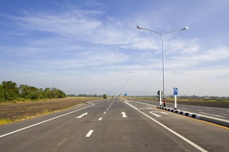 Perspective road yellow dot line and white line Stock Photo - 8697036
