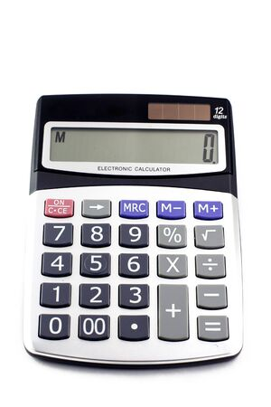 A grey calculator isolated on a white background  Stock Photo - 8697117