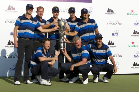 HUA HIN, THAILAND - JANUARY 9: European team lifting the trophy after winning the Royal Trophy tournament, Asia vs Europe, at  Black  Mountain,Hua Hin, Thailand on January 7-9, 2011.