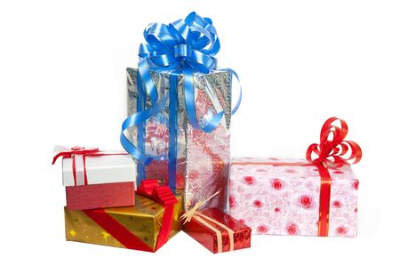 Colorful gift box on white background  photo
