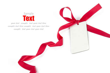 shimmery: Shiny red ribbon bow on white background with copy space  Stock Photo