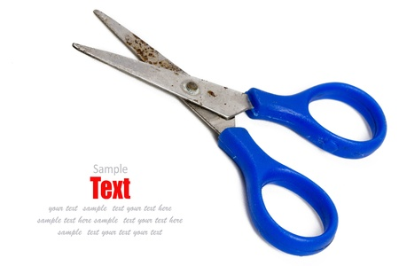 blue scissors isolated on a white background  photo
