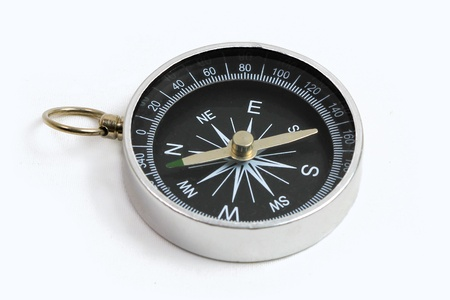 compass close-up isolated on white background with copy space