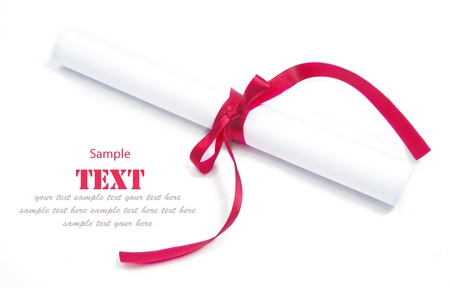 shimmery: Shiny red ribbon bow and paper on white background with copy space.