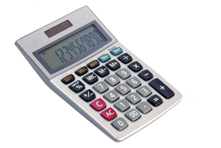 A grey calculator isolated on a white background  photo