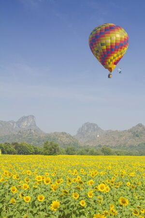 colorful hot air balloon in blue sky, with sky ideal as copy space - photo
