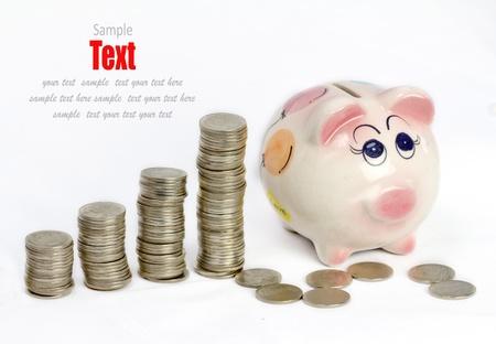 Münze Geld Hintergrund / Geld stack / thai Bad  Standard-Bild - 8765627