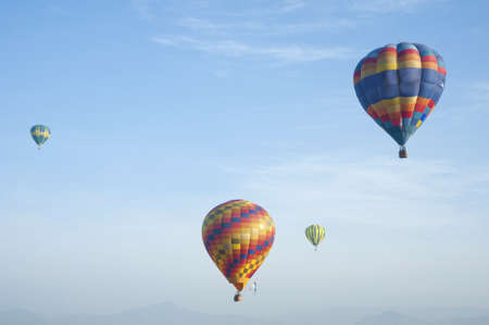 colorful hot air balloon in blue sky, with sky ideal as copy space  Stock Photo - 8765614