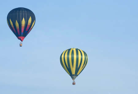 colorful hot air balloon in blue sky, with sky ideal as copy space  photo