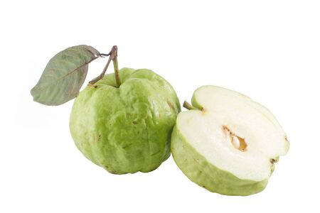 Ripe Guavas and its half . Isolated on a white.