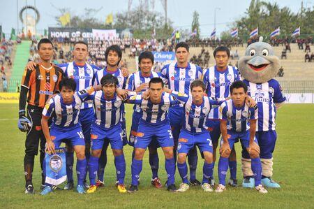 BANGKOK THAILAND- FEB 27: Thai Premier League (TPL) between Army Utd. (green) vs Sriracha Zusuki Fc (Blue) on February 27, 2011 at Army Stadium in Bangkok Thailand  Stock Photo - 8944838