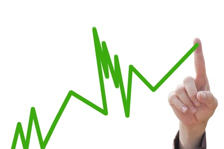 line graph: Businesswomans hand on chart showing positive growth trend  Stock Photo