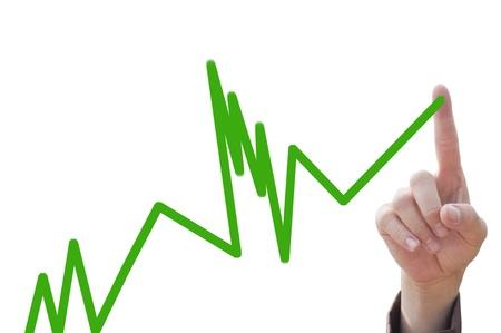 tendencja: Los firmy rÄ™cznie przy trend wzrostu dodatnie wskazujÄ…ce wykresu  Zdjęcie Seryjne