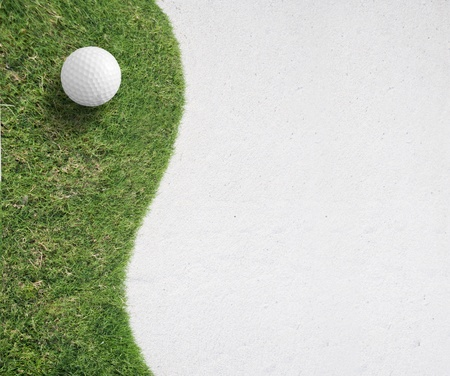 play golf: white Golf ball on green grass left side background