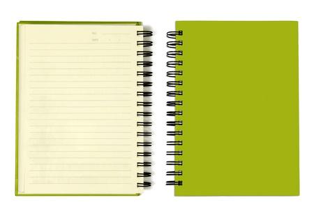 メモ帳横の緑のカバー