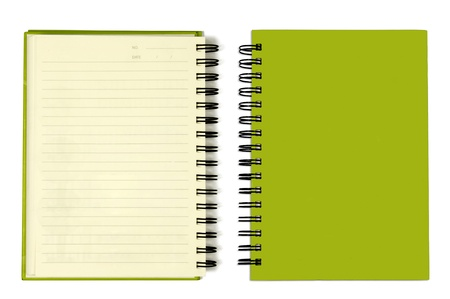 note book: La copertina verde di libro nota orizzontale  Archivio Fotografico