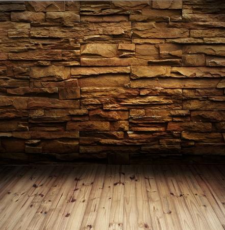 れんが造りの壁と木製の床 写真素材