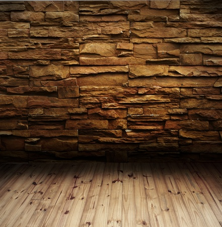 brick wall and wood floor  写真素材