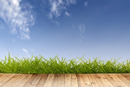 wood floor with green grass and blue sky.  photo