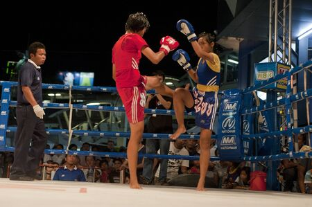 BANGKOK THAILAND- MAY 18: Unidentified players in MBK Fight Night on May18, 2011 at MBK Avenue Ring,Bangkok Thailand