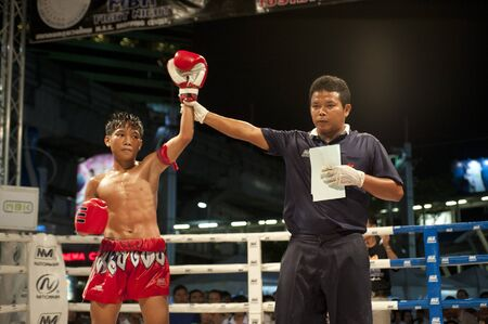 BANGKOK THAILAND- MAY 18: Unidentified players in MBK Fight Night on May18, 2011 at MBK Avenue Ring,Bangkok Thailand  Editorial