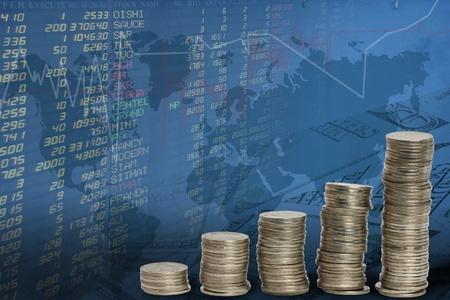 economy growth: cion in stock background  Stock Photo