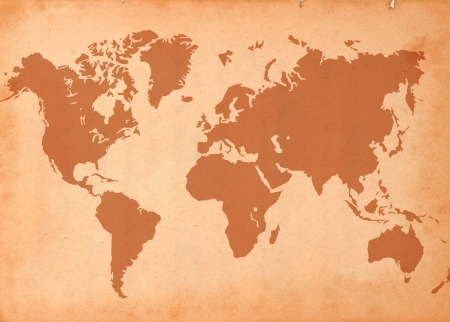 old rustic map: world map paper texture with beautiful color effects