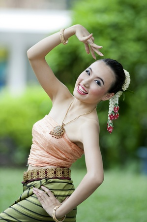 merit: Women : Thai Traditional Dress. This is the parade of making traditional merit of people from the northern territory of Thailand