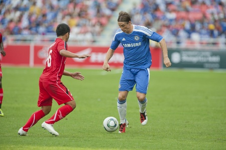 BANGKOK THAILAND- JULY 24 :  Coke Super Cup : Chelsea  Asia Tour 2011 (Thailand),  between Chelsea vs Thail  All-Star on July 24, 2011 in Rajamangla Stadium,Bangkok, Thailand.