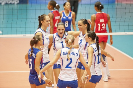 BANGKOK,THAILAND - AUGUST 5 : Volleyball World Championships 2011 Russia vs Cuba at Nakhonpathom in Thailand on August 05, 2011