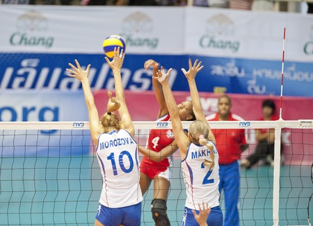 BANGKOK,THAILAND - AUGUST 5 : Volleyball World Championships 2011 Russia vs Cuba at Nakhonpathom in Thailand on August 05, 2011 Editorial