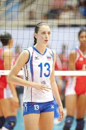 NAKHONPATHOM,THAILAND - AUGUST 5 : Volleyball World Championships 2011 Russia vs Cuba at Nakhonpathom in Thailand on August 05, 2011
