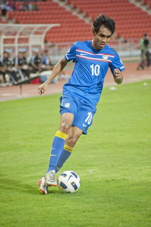 BANGKOK THAILAND - SEPTEMBER 6 : FIFA WORLD CUP 2014 (Round 3), between Thailand vs Oman on September 6, 2011 in Rajamangla Stadium,Bangkok, Thailand.  Stock Photo - 10581165