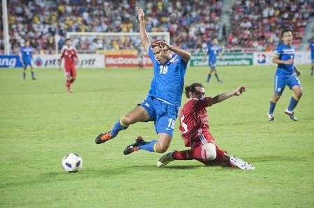 BANGKOK THAILAND - 6. September: FIFA WM 2014 (3. Runde), zwischen Thailand vs Oman am 6. September 2011 in Rajamangla Stadion, Bangkok, Thailand. Standard-Bild - 10581175
