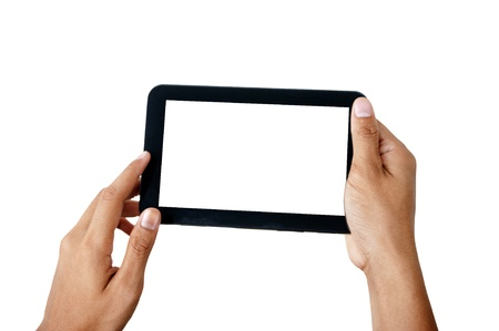 games hand: Two hands holding smart phone, playing games, Stock Photo