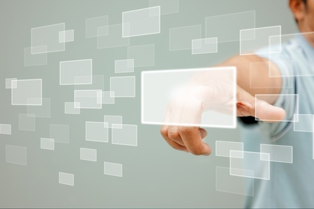 pressing: business man pressing a touchscreen button