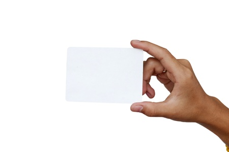 Hand and a card isolated on white Stock Photo - 10677760