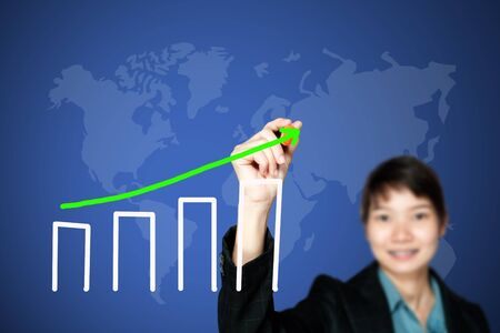 asian business women drawing graph Stock Photo - 10678834