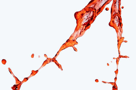 Water splash isolated on white. Close up of splash of water forming flower shape, isolated on white background.  Stock Photo