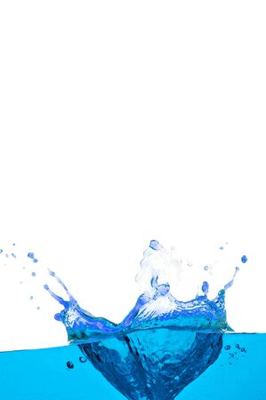 spews: Water splash isolated on white. Close up of splash of water forming flower shape, isolated on white background.  Stock Photo