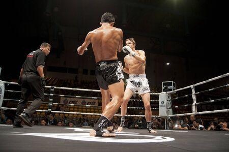 boxing ring: BANGKOK THAILAND- SEPTEMBER 25 : Thai Fight : Muay Thai..World