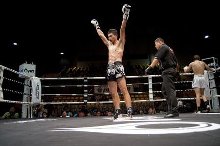 ring light: BANGKOK THAILAND- SEPTEMBER 25 : Thai Fight : Muay Thai..World