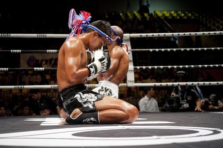 BANGKOK THAILAND- SEPTEMBER 25 : Thai Fight : Muay Thai..Worlds Unrivalled Fight on September 25, 2011 at Thammasat University Cnvention Center,Bangkok Thailand